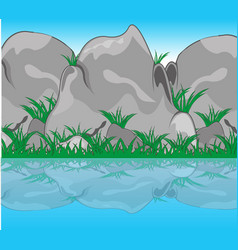 Stone reflection in water vector