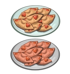 Sweet pies envelopes jam on a plate food vector