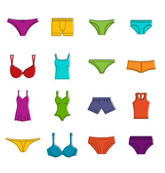 underwear items icons doodle set vector image vector image