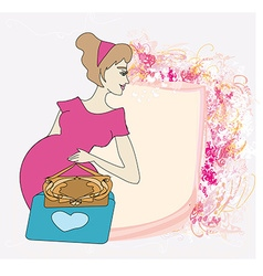 Beautiful pregnant girl frame vector