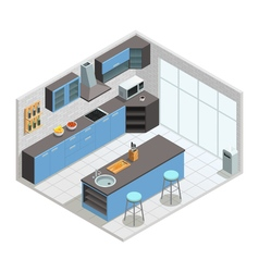 Kitchen Interior Isometric Concept vector image