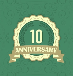 10th anniversary label on a green ornament vector