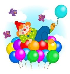 Clown flying on balloons vector