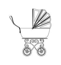 Silhouette traditional baby carriage with soft top vector