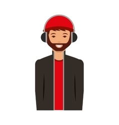 Young man with headset character vector