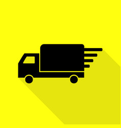 Delivery sign  black icon with flat vector