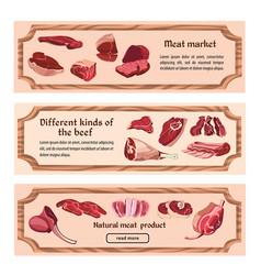 Hand drawn fresh meat horizontal banners vector