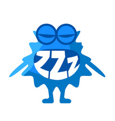 Blue blob saying zzz cute emoji character with vector