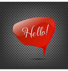 Abstract metal background with red speech bubble vector