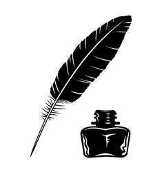 Feather and ink bottle vector