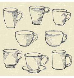 Drawn cups vector