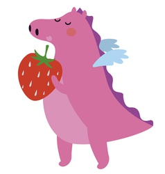 Pink dinosaur with strawberry vector