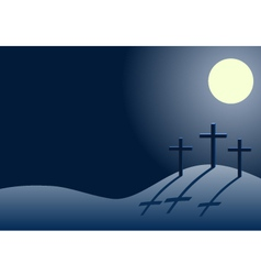 Three crosses on calvary at night vector