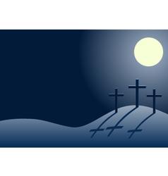 three crosses on Calvary at night vector image
