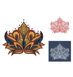 Decorative vintage isolated paisley flower vector