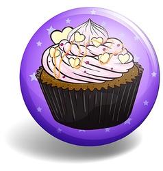 Cupcake on purple badge vector image