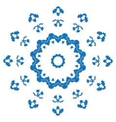 Blue silhouette of snowflake on white background vector