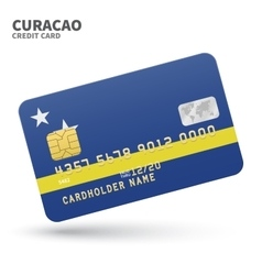 Credit card with curacao flag background for bank vector