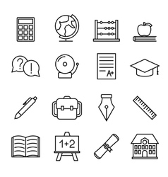 Educational study line icons vector