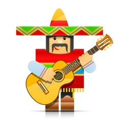 mexicano man origami toy vector image