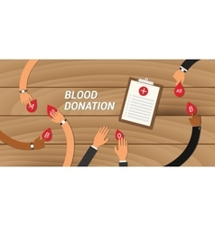 Blood donation concept people give their to other vector