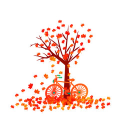 Autumn tree fall leaves background vector