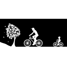 Bikers and the tree vector image vector image