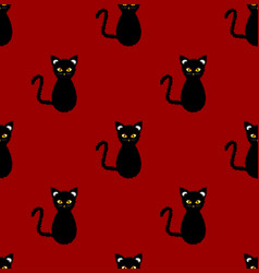 black cat seamless on red background vector image vector image
