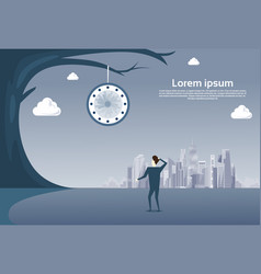 Business man looking at clock hanging on tree over vector