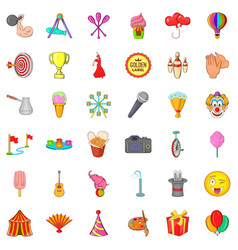 celebration icons set cartoon style vector image vector image