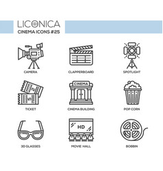Cinema - modern flat line design icons set vector