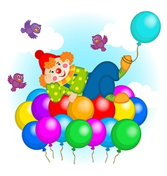 Clown flying on balloons vector