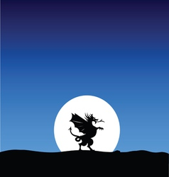 Dragon silhouette on the moon background vector