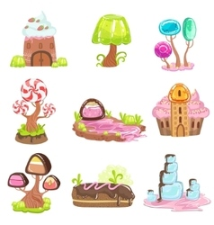 Fairy-tale Landscape Elements Made Of Sweets And vector image vector image