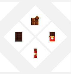Flat icon chocolate set of chocolate bar sweet vector