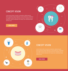 Flat icons decay dental crown furniture and vector