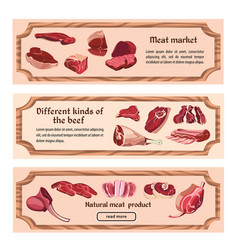 Hand drawn fresh meat horizontal banners vector