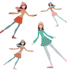 happy girls are skating vector image