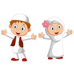 Happy Muslim kid vector image