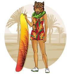 Leopard with surfboat and tropical sunset vector