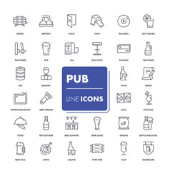 Line icons set pub pack vector