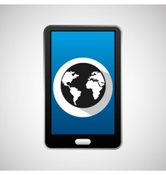 Mobile phone app globe work vector