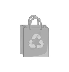 Paper shopping bag with recycling symbol icon vector