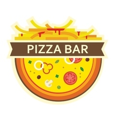 pizza and fries icon for pizza bar vector image