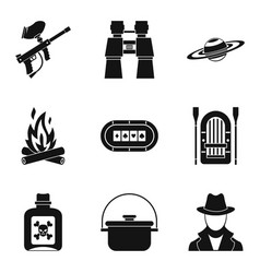 Poison icons set simple style vector