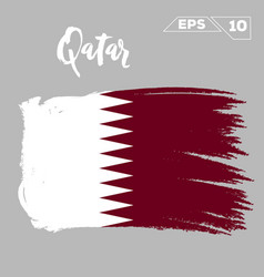 Qatar flag brush strokes painted vector
