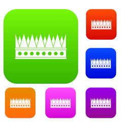 Regal crown set color collection vector