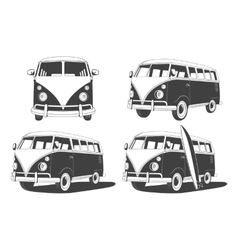 Retro travel buses set design elements vector