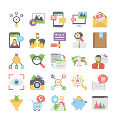 Seo and digital marketing colored icons 11 vector