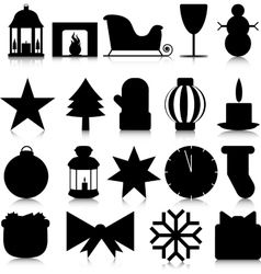 Silhouettes of christmas paraphernalia on a white vector